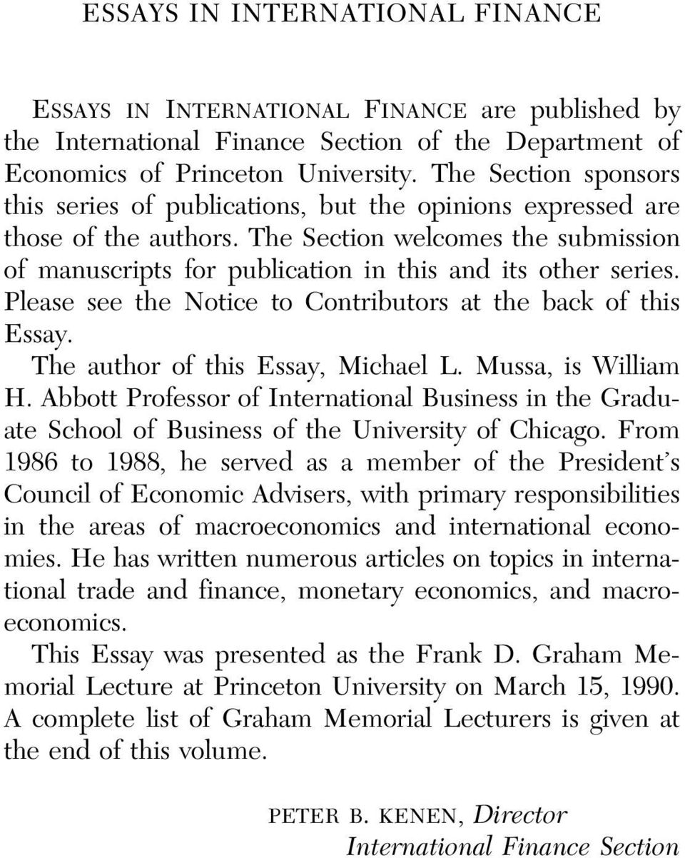 essays finance macroeconomics
