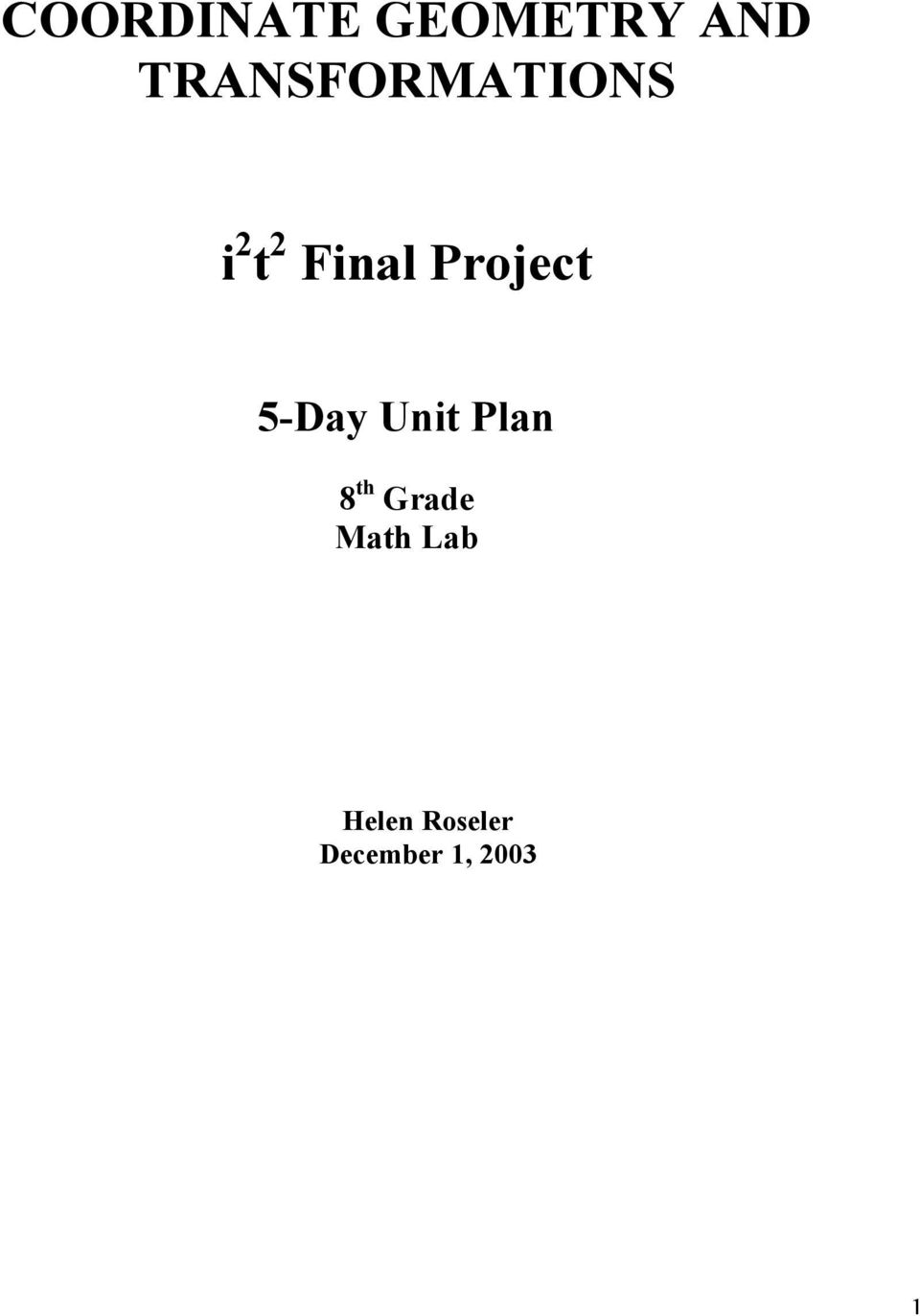Project 5-Day Unit Plan 8 th