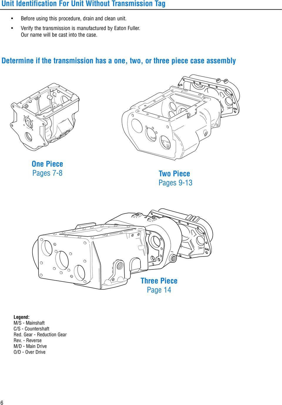 Determine if the transmission has a one, two, or three piece case assembly One Piece Pages 7-8 Two Piece Pages
