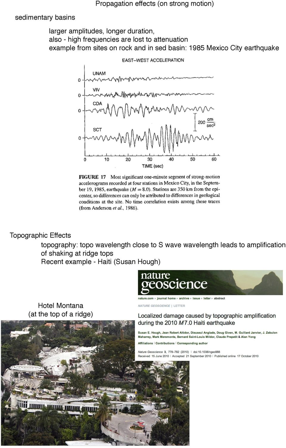 earthquake Page 950 Topographic Effects topography: topo wavelength close to S wave wavelength leads to