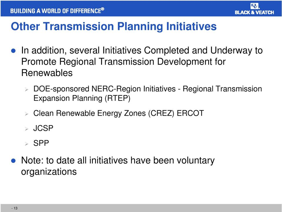 NERC-Region Initiatives - Regional Transmission Expansion Planning (RTEP) Clean Renewable