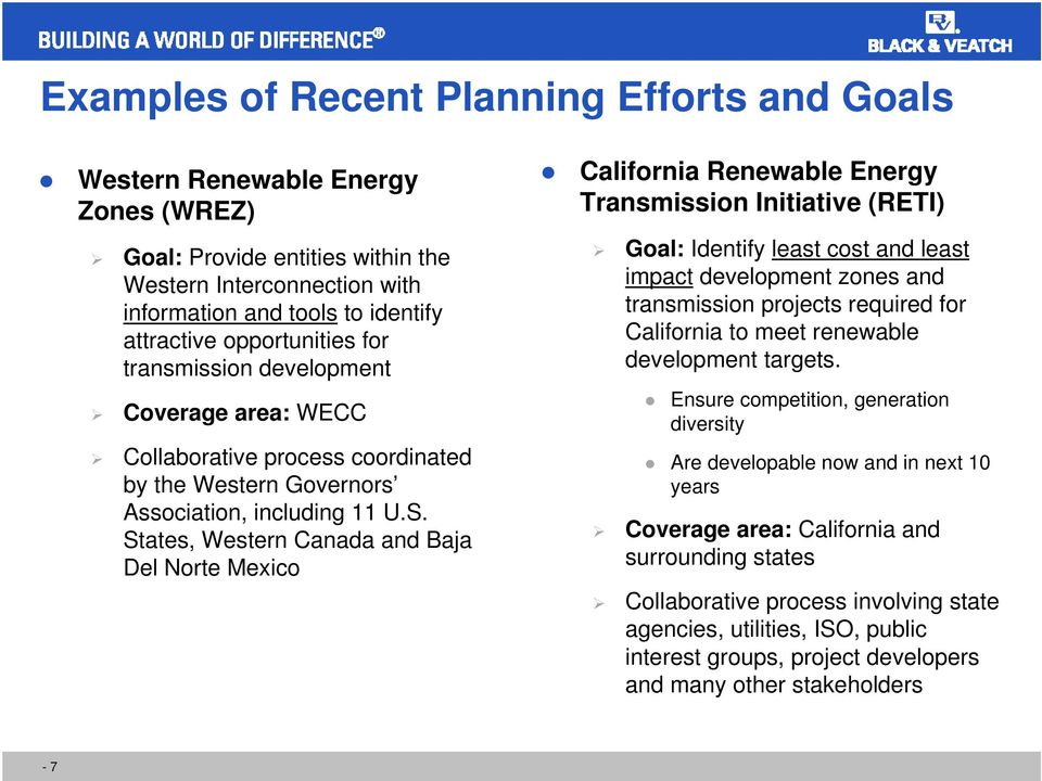 States, Western Canada and Baja Del Norte Mexico California Renewable Energy Transmission Initiative (RETI) Goal: Identify least cost and least impact development zones and transmission projects