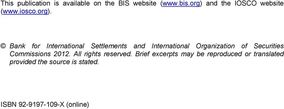 and International Organization of Securities Commissions 2012.