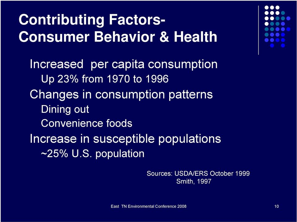 out Convenience foods Increase in susceptible populations ~25% U.S.