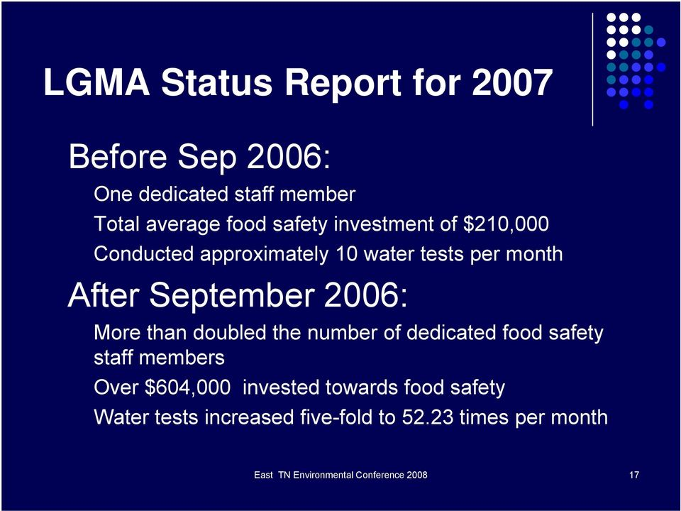 than doubled the number of dedicated food safety staff members Over $604,000 invested towards food