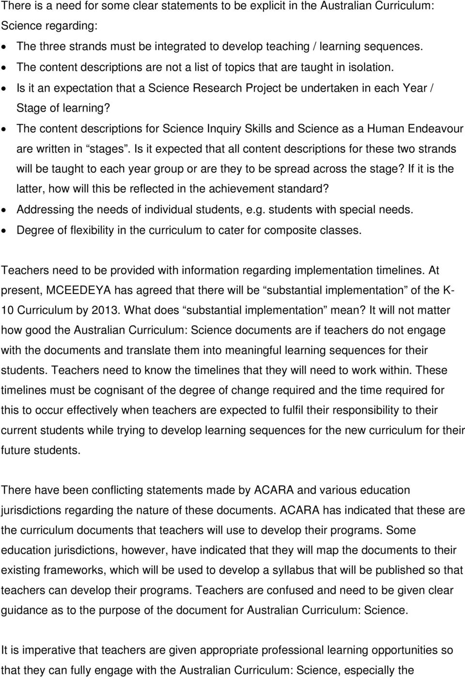 The content descriptions for Science Inquiry Skills and Science as a Human Endeavour are written in stages.