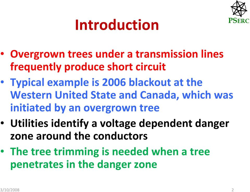 initiated by an overgrown tree Utilities identify a voltage dependent danger zone around