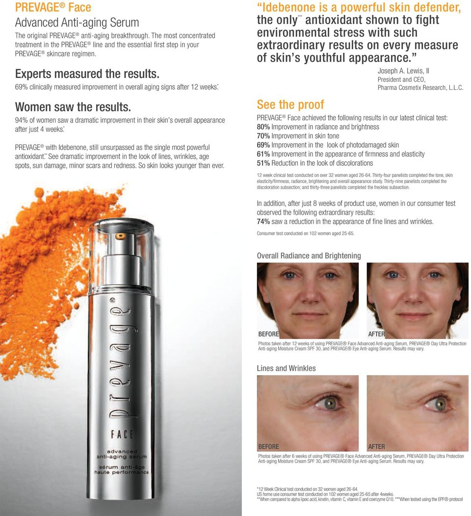 94% of women saw a dramatic improvement in their skin s overall appearance after just 4 weeks. * PREVAGE with Idebenone, still unsurpassed as the single most powerful antioxidant.