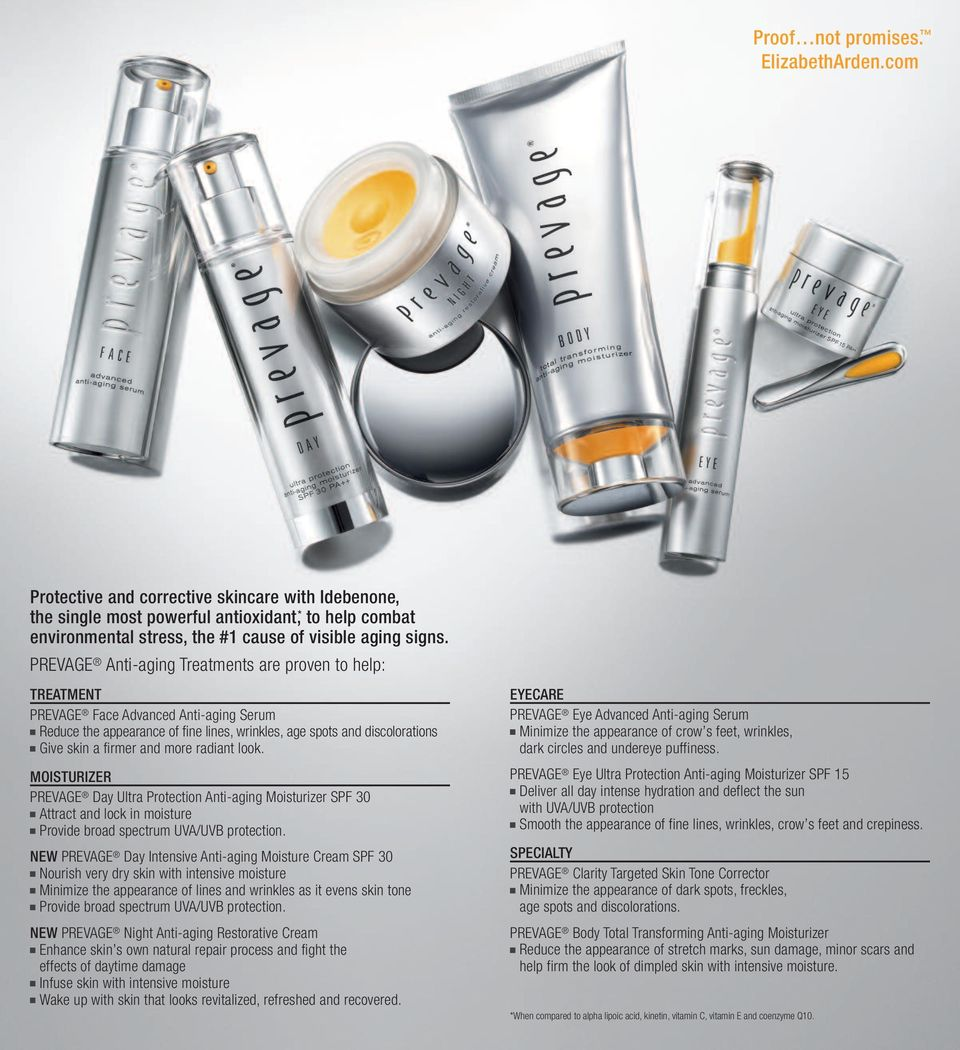 PREVAGE Anti-aging Treatments are proven to help: TREATMENT PREVAGE Face Advanced Anti-aging Serum Reduce the appearance of fine lines, wrinkles, age spots and discolorations Give skin a firmer and