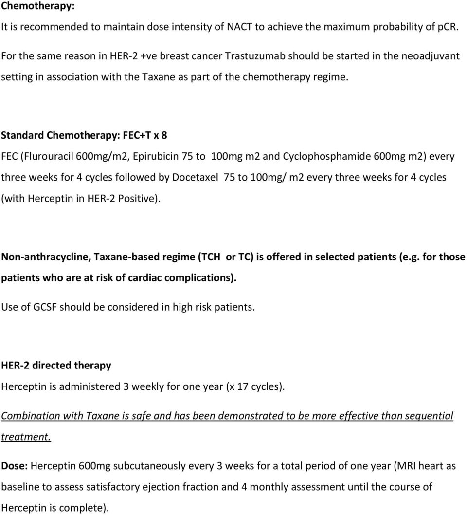 Standard Chemotherapy: FEC+T x 8 FEC (Flurouracil 600mg/m2, Epirubicin 75 to 100mg m2 and Cyclophosphamide 600mg m2) every three weeks for 4 cycles followed by Docetaxel 75 to 100mg/ m2 every three