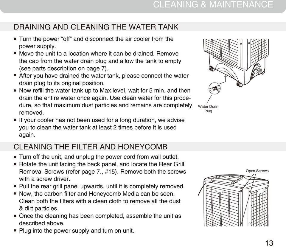 After you have drained the water tank, please connect the water drain plug to its original position. Now refill the water tank up to Max level, wait for 5 min.