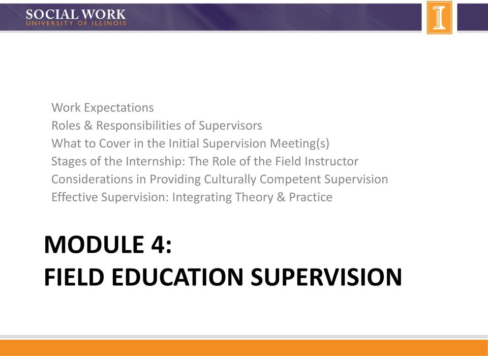 Instructor Considerations in Providing Culturally Competent Supervision