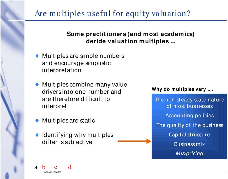 are therefore difficult to interpret Multiples are static Identifying why multiples differ is subjective Why do multiples vary.