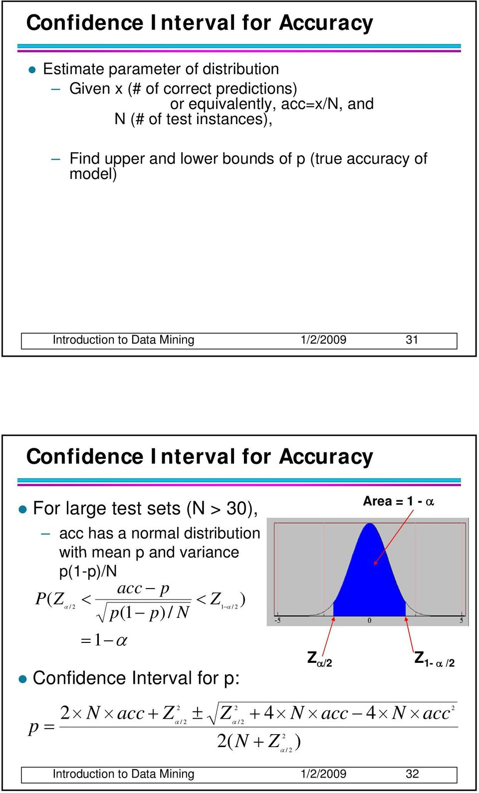 Accuracy Area = 1 - α For large test sets (N > 30), acc has a normal distribution with mean p and variance p(1-p)/n ( acc p P Z < < Z ) α / 1 α