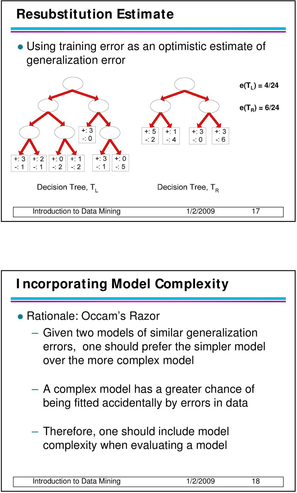 generalization errors, one should prefer the simpler model over the more complex model A complex model has a greater chance of