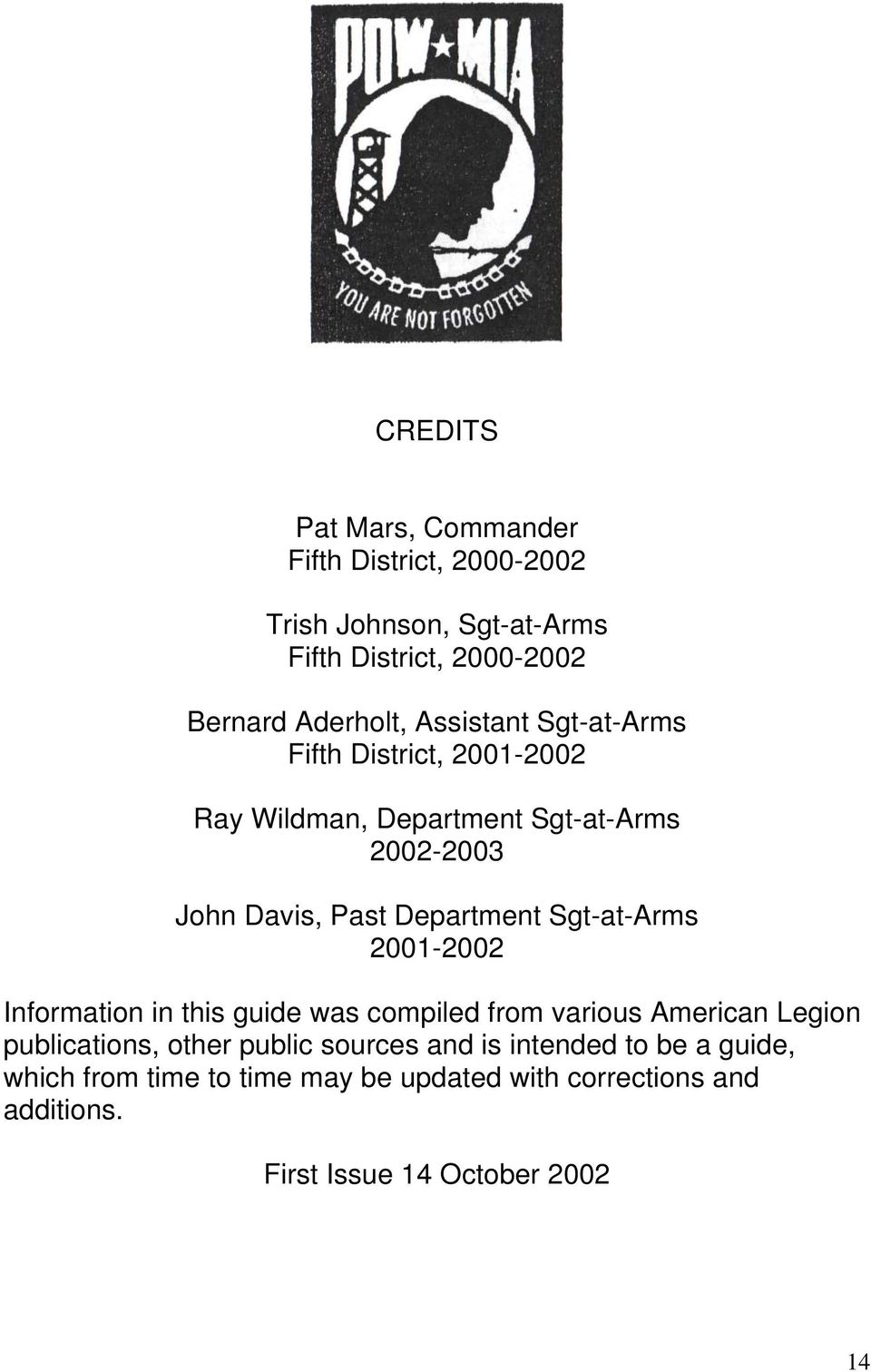 Sgt-at-Arms 2001-2002 Information in this guide was compiled from various American Legion publications, other public sources