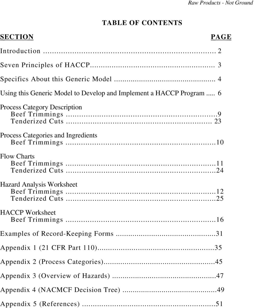 worksheet Haccp Worksheet raw products not ground pdf 23 process categories and ingredients beef trimmings 10 flow charts beef
