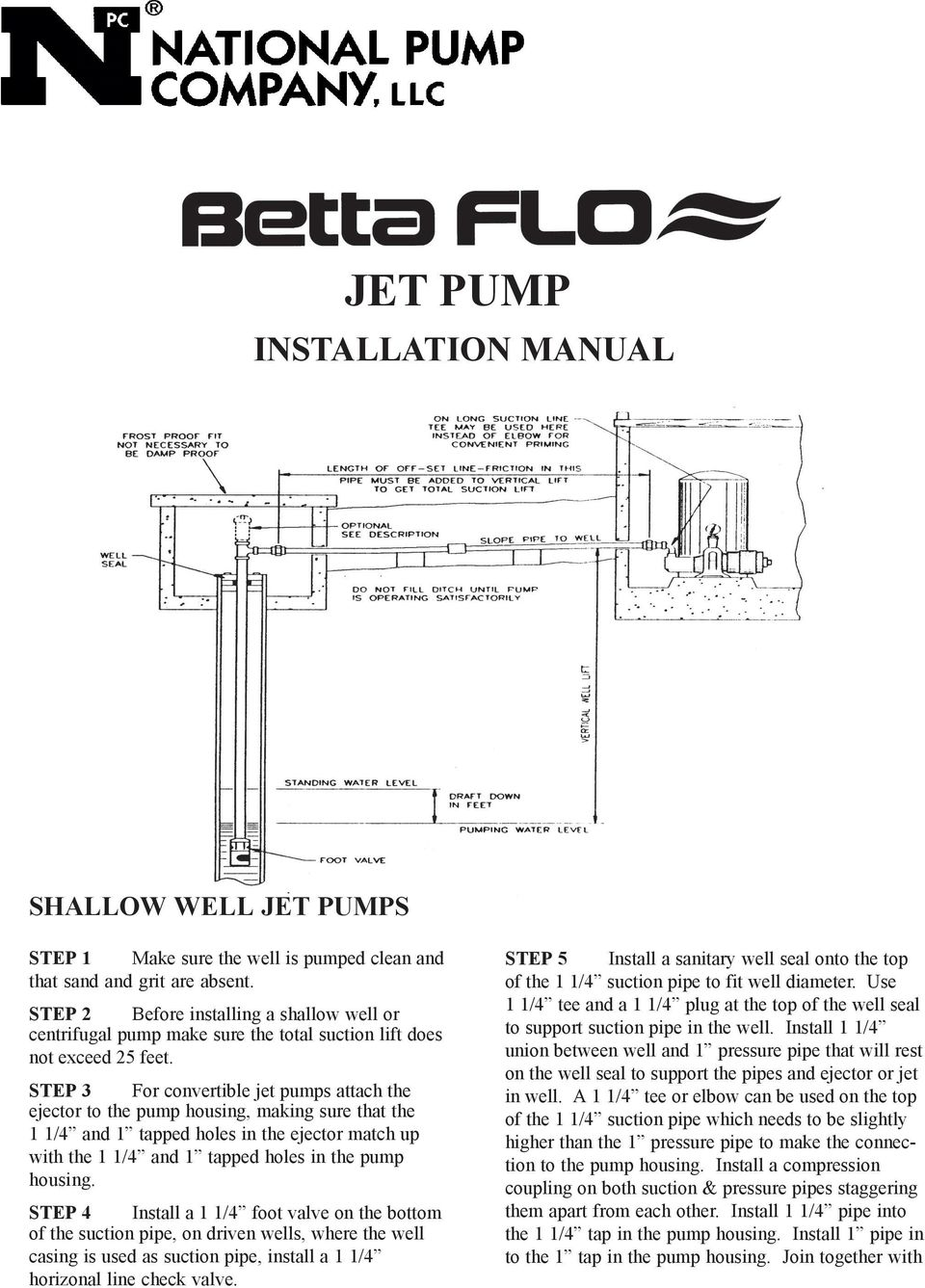 jet pump installation manual shallow well jet pumps pdf step 3 for convertible jet pumps attach the ejector to the pump housing making sure