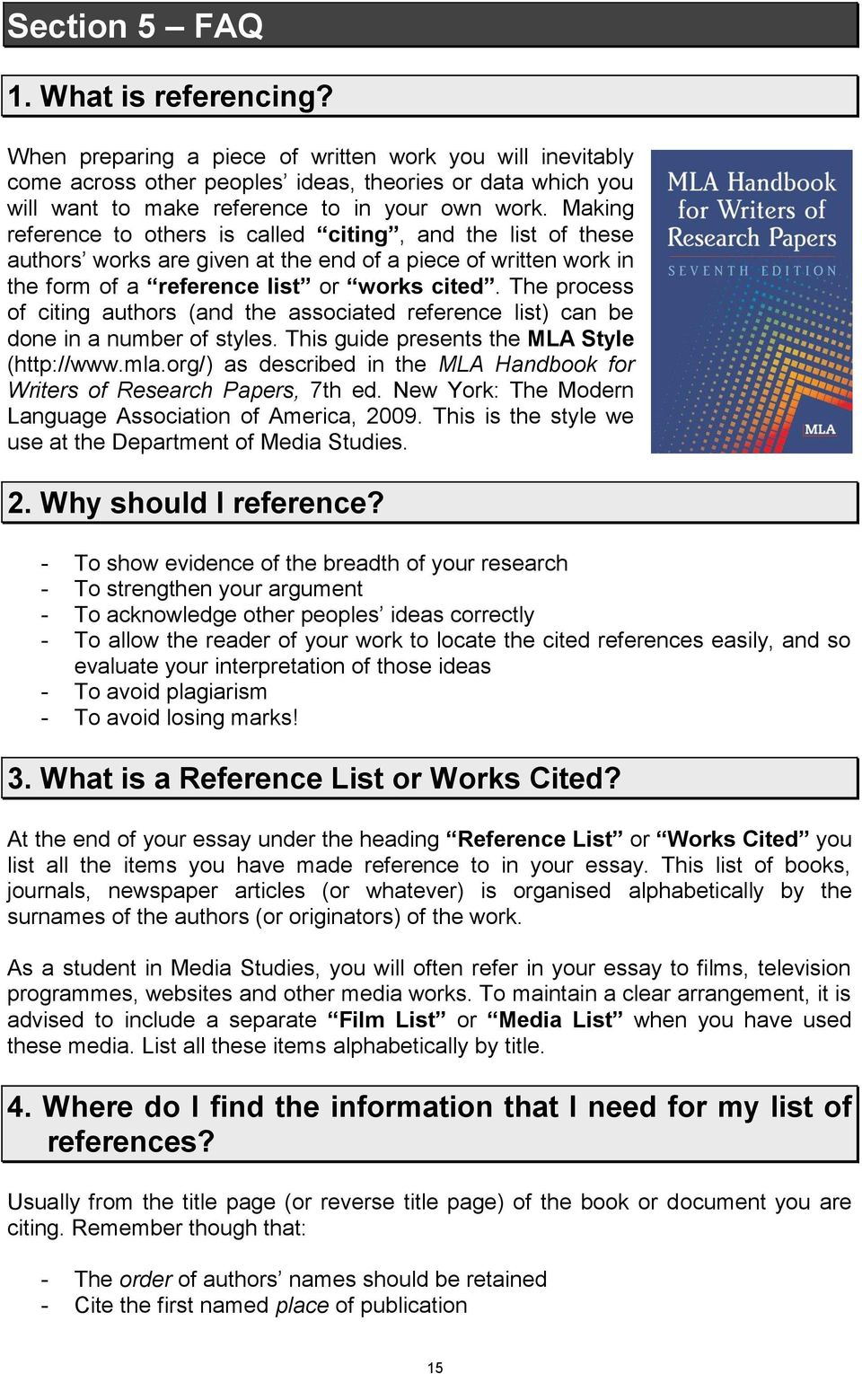 mla referencing guide pdf making reference to others is called citing and the list of these authors works are