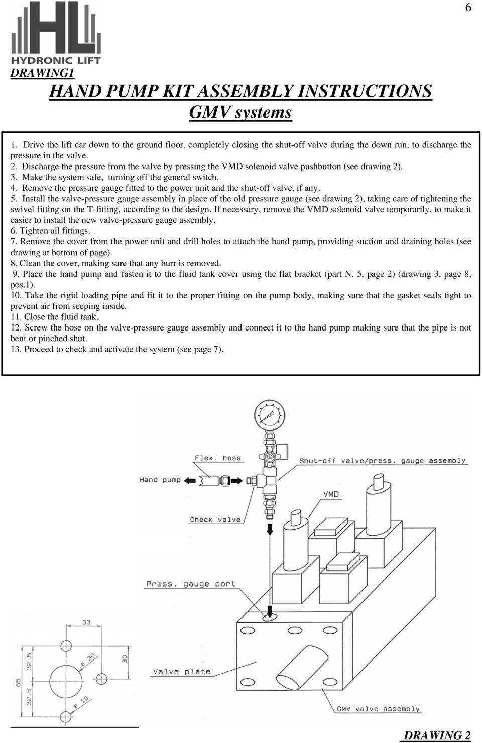 Discharge the pressure from the valve by pressing the VMD solenoid valve pushbutton (see drawing 2). 3. Make the system safe, turning off the general switch. 4.