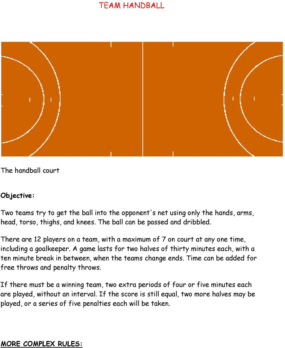 A game lasts for two halves of thirty minutes each, with a ten minute break in between, when the teams change ends. Time can be added for free throws and penalty throws.