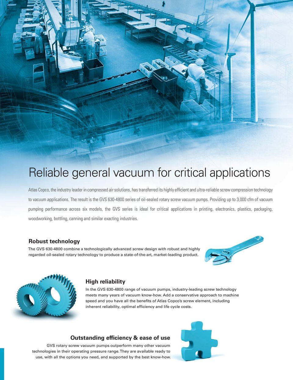 Providing up to 3,000 cfm of vacuum pumping performance across six models, the GVS series is ideal for critical applications in printing, electronics, plastics, packaging, woodworking, bottling,