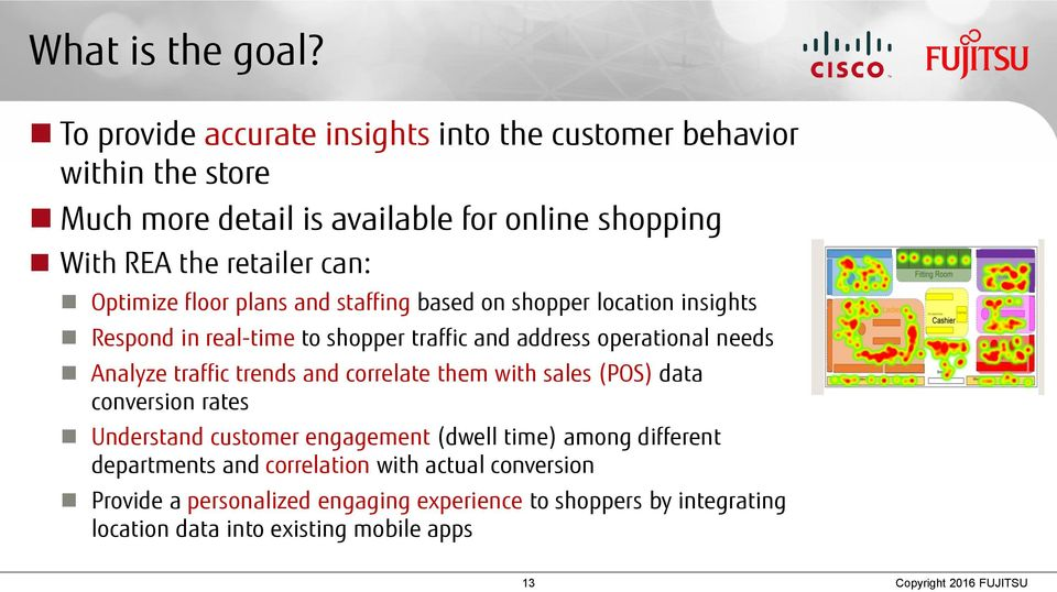 floor plans and staffing based on shopper location insights Respond in real-time to shopper traffic and address operational needs Analyze traffic trends and