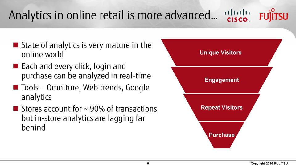 Web trends, Google analytics Stores account for ~ 90% of transactions but in-store analytics