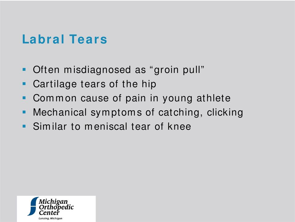 pain in young athlete Mechanical symptoms of