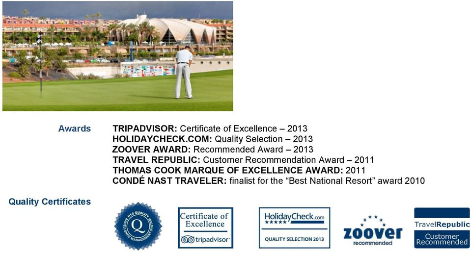 COM: Quality Selection 2013 ZOOVER AWARD: Recommended Award 2013 TRAVEL