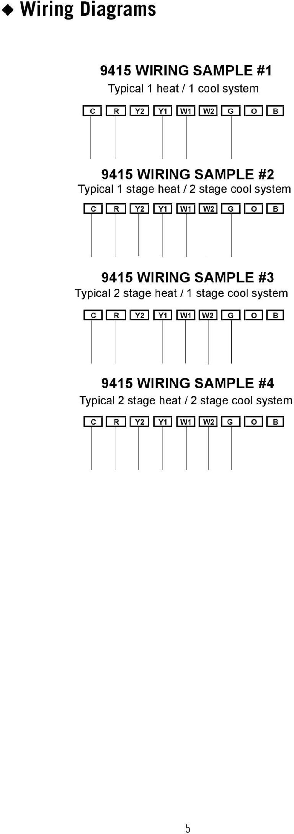 9415 WIRING SAMPLE #3 Typical 2 stage heat / 1 stage cool system C R Y2 Y1 W1 W2 G O B