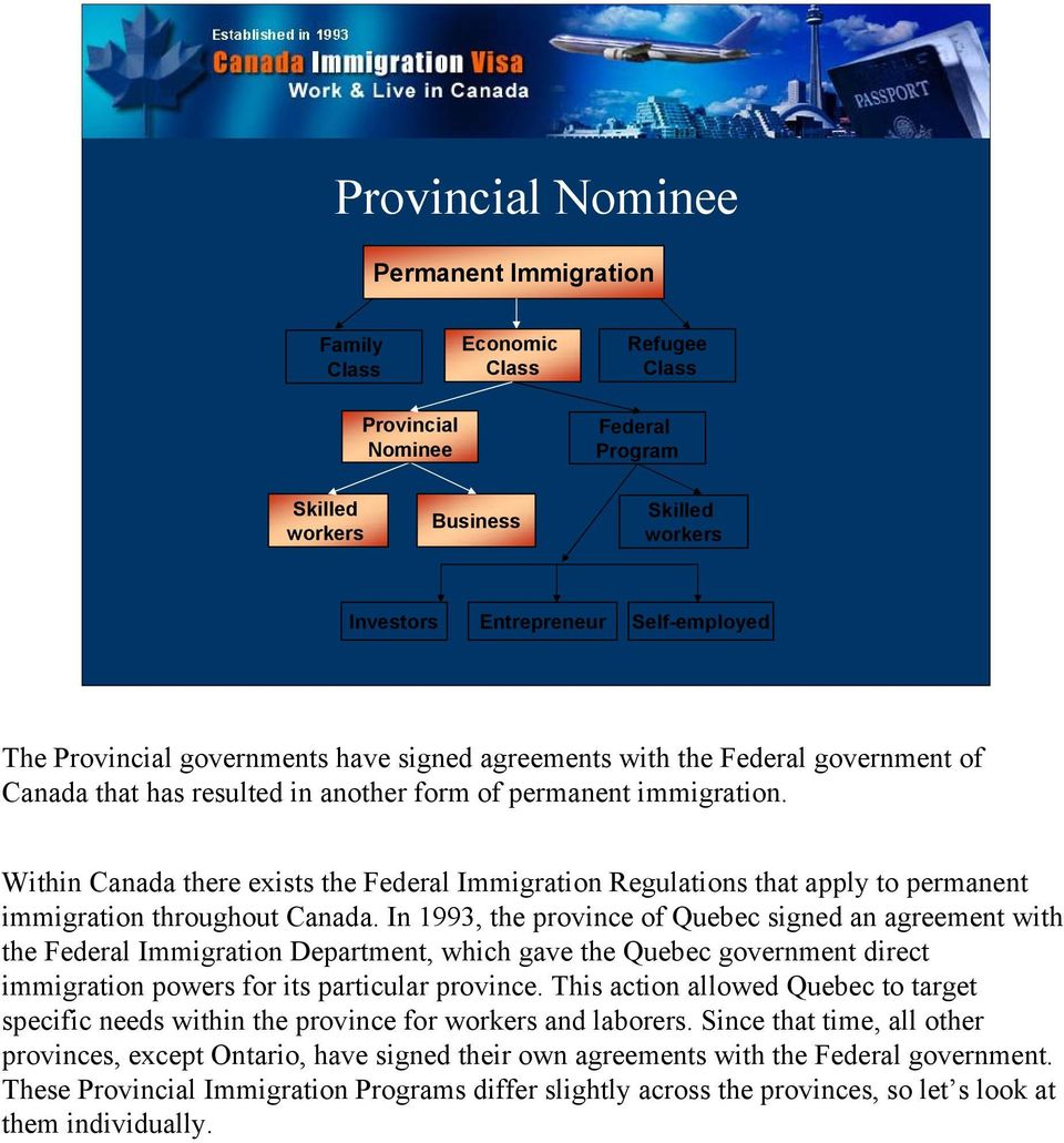 Within Canada there exists the Federal Immigration Regulations that apply to permanent immigration throughout Canada.