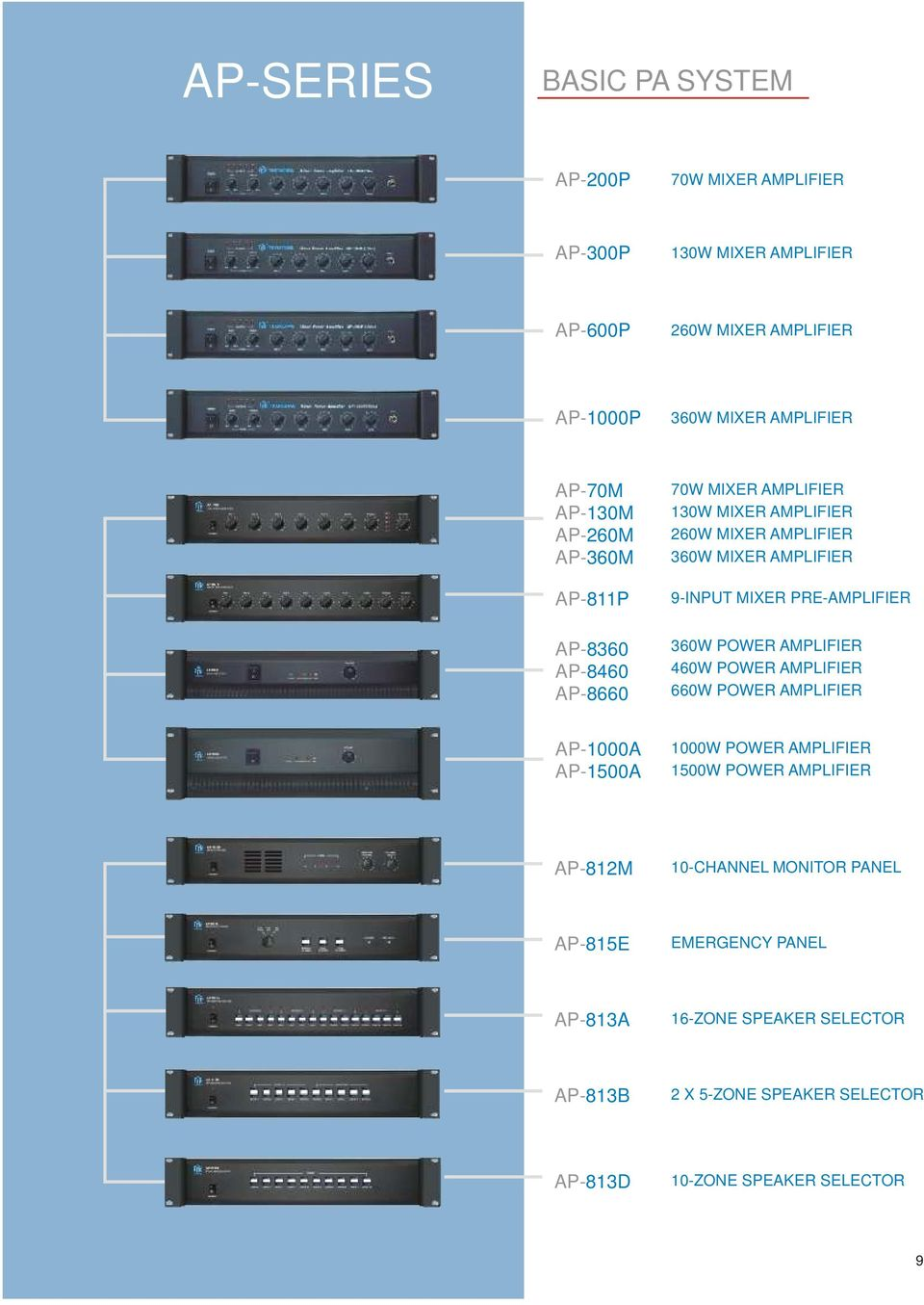 360W MIXER AMPLIFIER 9-INPUT MIXER PRE-AMPLIFIER AP-8360 AP-8460 360W 460W 660W AP-1000A AP-1500A 1000W 1500W 10-CHANNEL