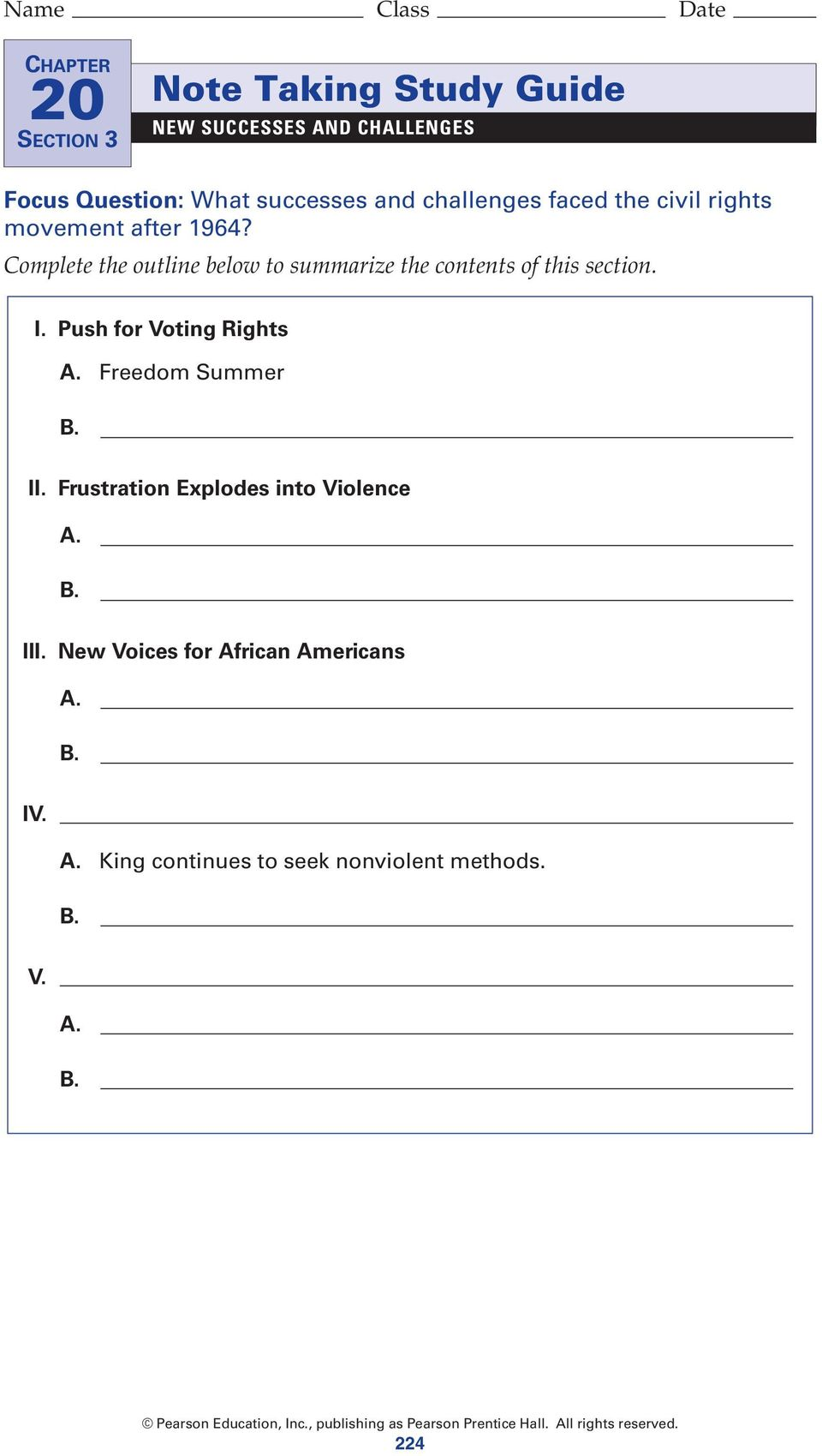 Complete the outline below to summarize the contents of this section. I. Push for Voting Rights A.