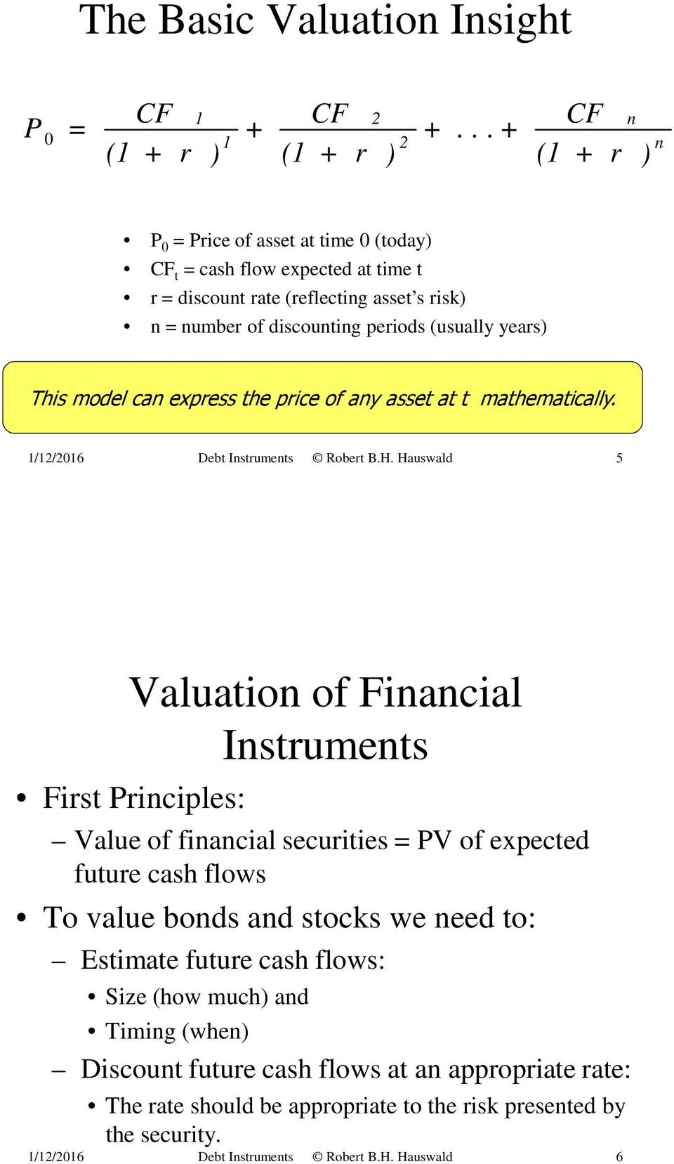 This model can express the price of any asset at t mathematically. 1/12/2016 Debt Instruments Robert B.H.