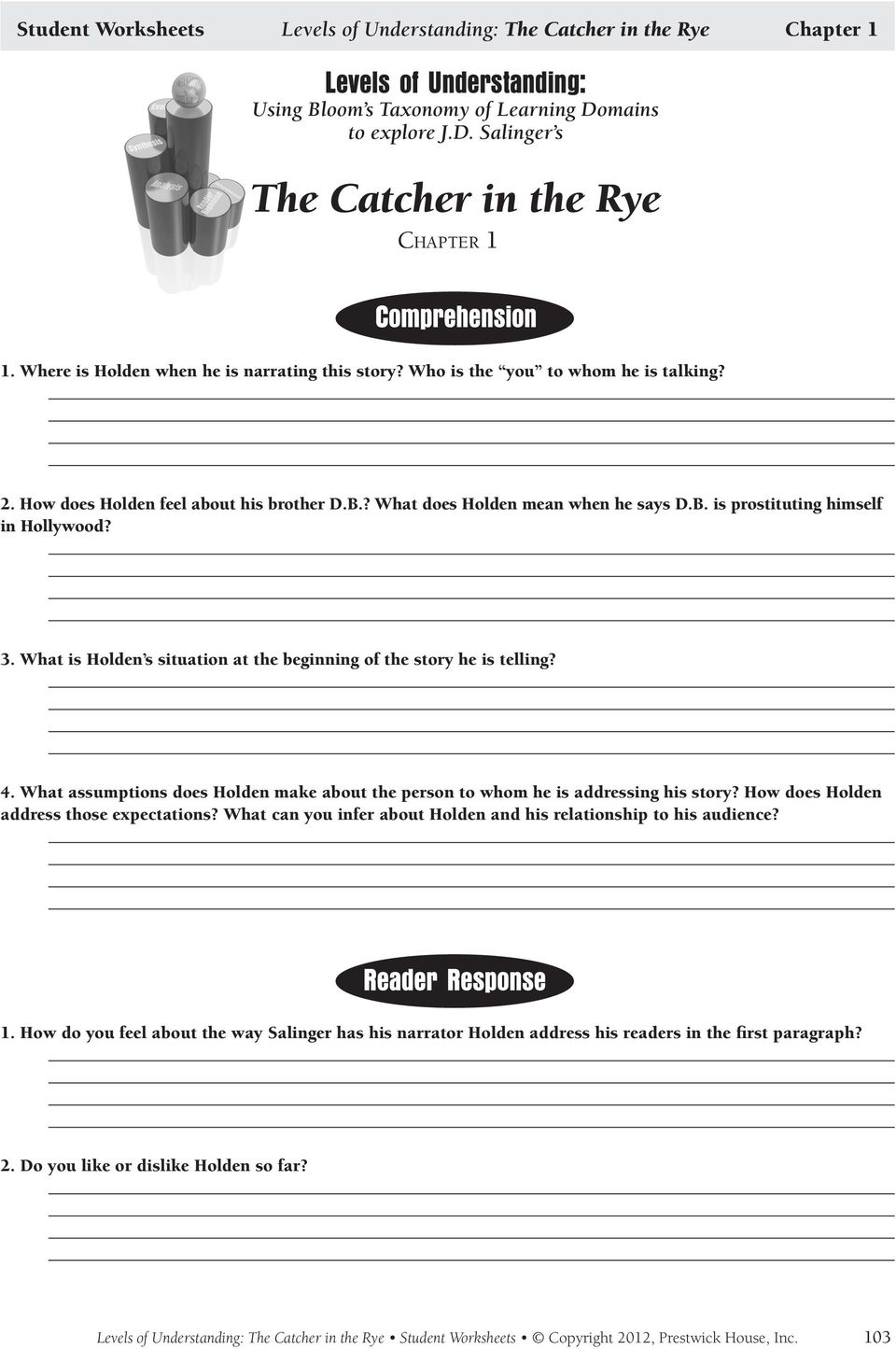 worksheet The Catcher In The Rye Worksheets understanding the catcher in rye by j d salinger pdf what is holden s situation at beginning of story he telling