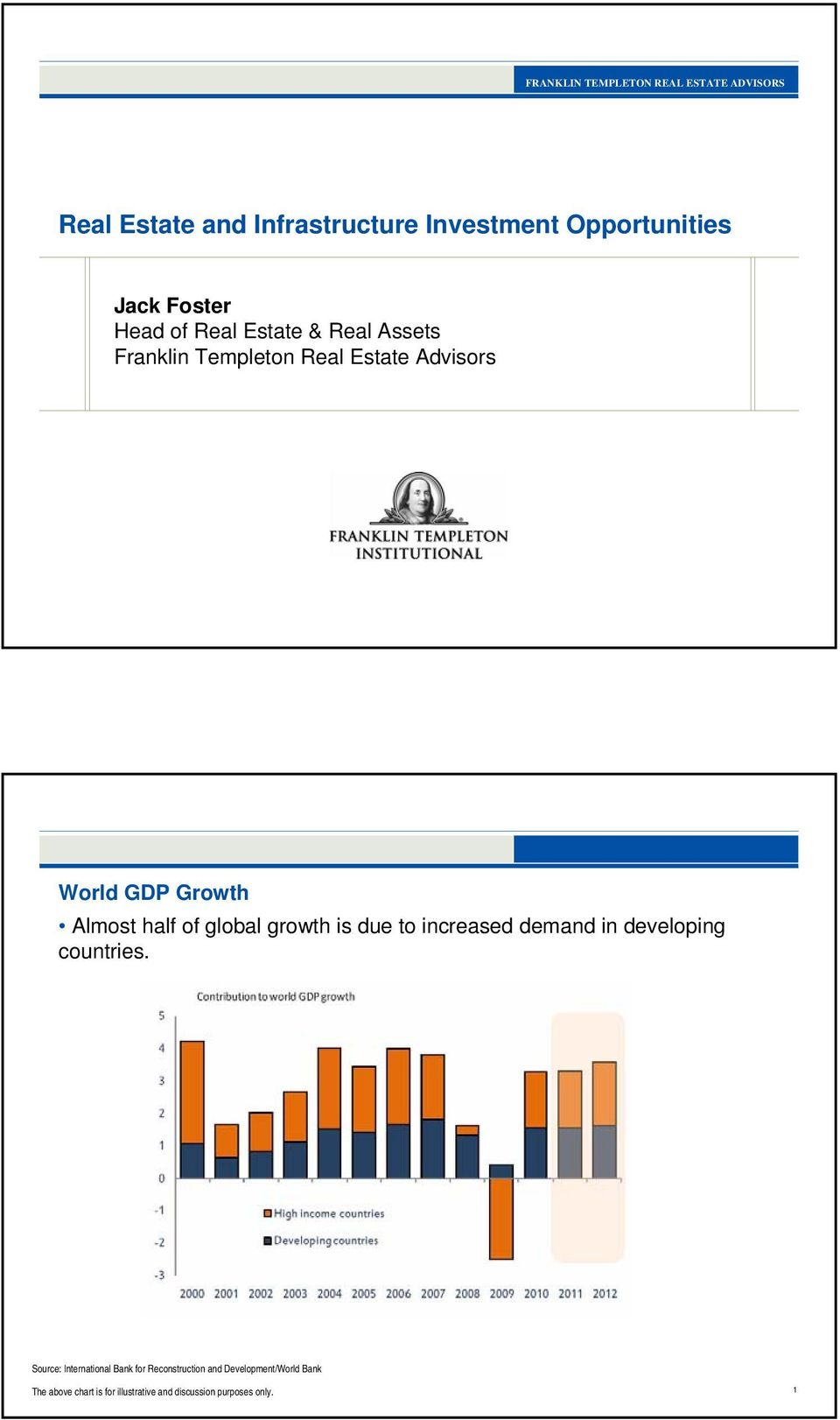 Estate Advisors World GDP Growth Almost half of global growth is due to increased demand