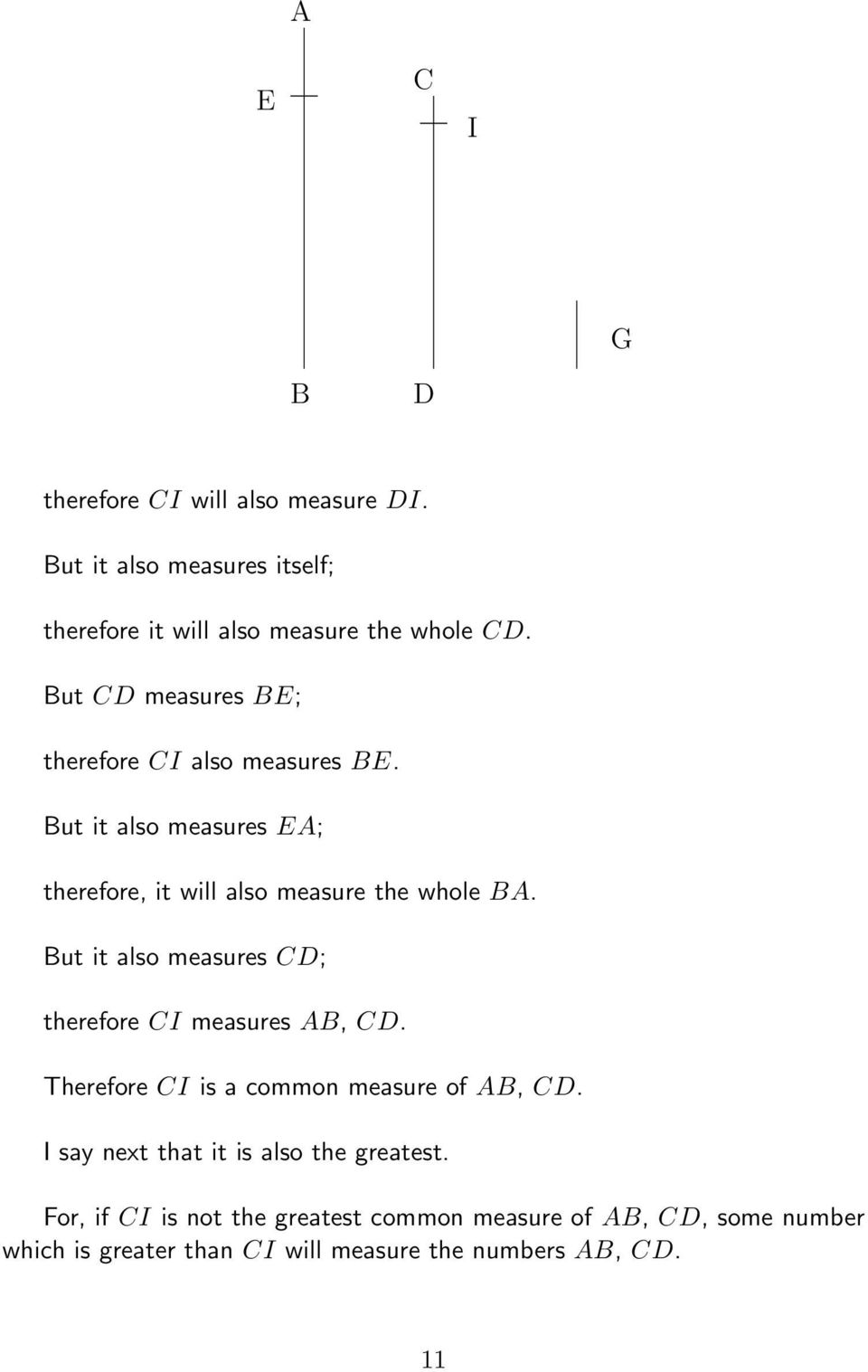 But it also measures CD; therefore CI measures AB, CD. Therefore CI is a common measure of AB, CD.