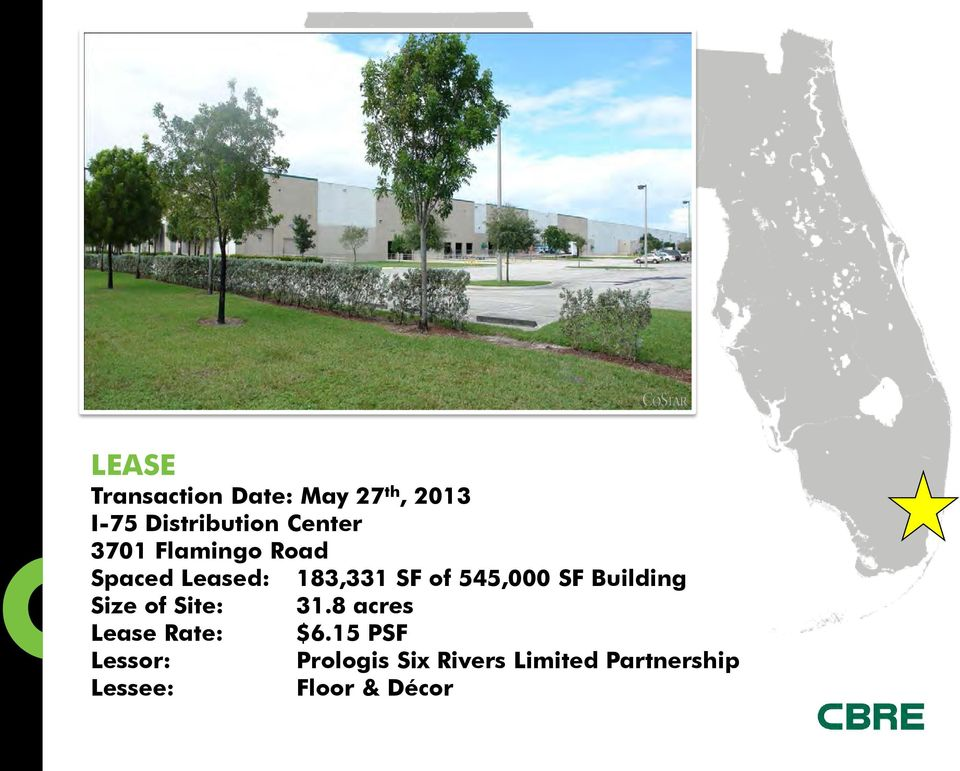 SF Building Size of Site: 31.8 acres Lease Rate: $6.