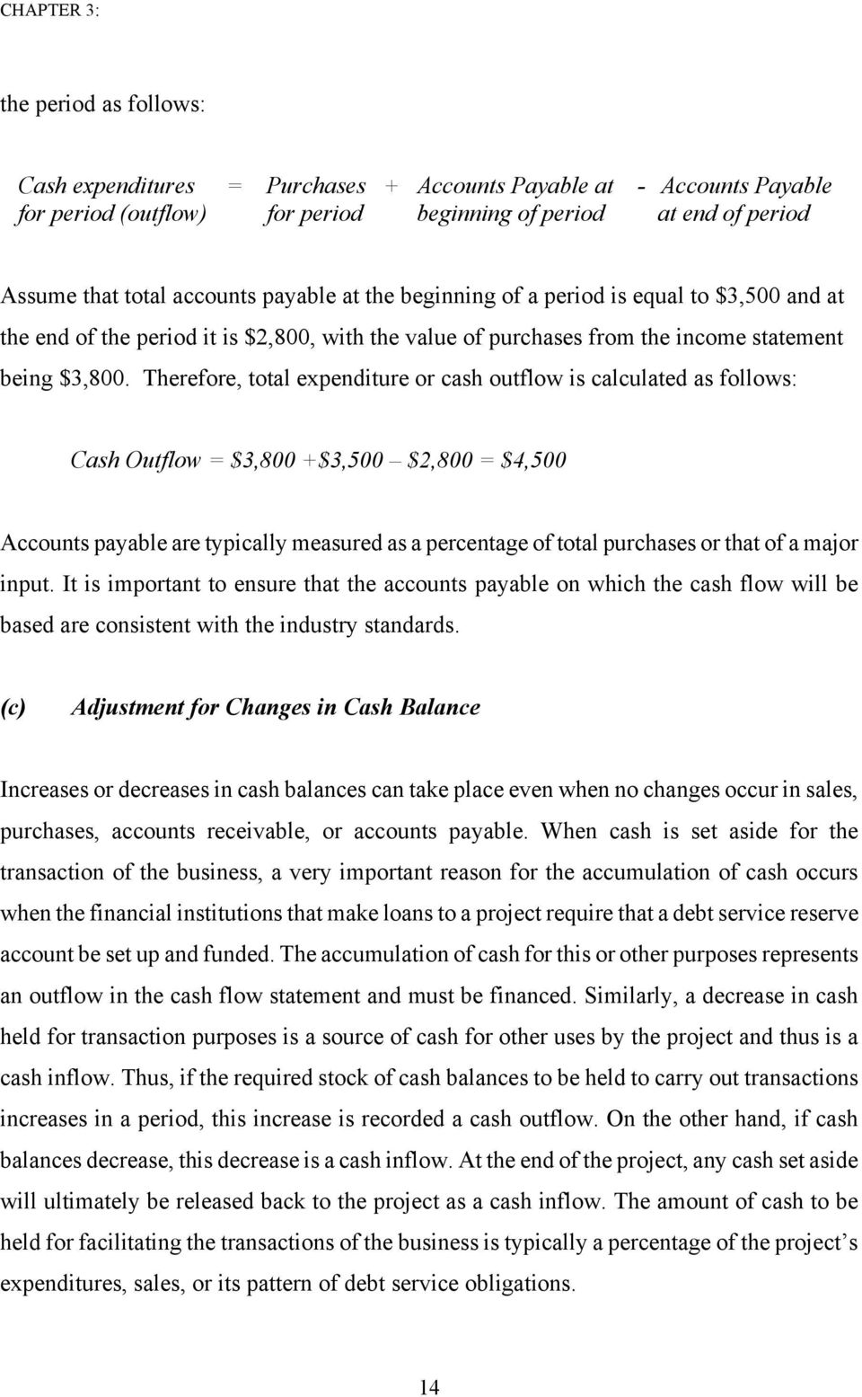 Therefore, oal expendiure or cash ouflow is calculaed as follows: Cash Ouflow = $3,800 +$3,500 $2,800 = $4,500 Accouns payable are ypically measured as a percenage of oal purchases or ha of a major