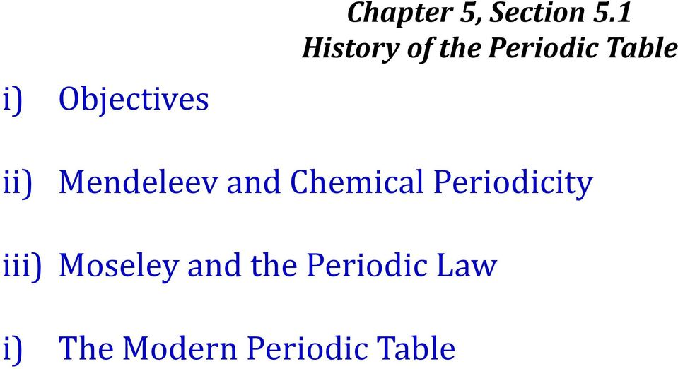Mendeleev and Chemical Periodicity iii)