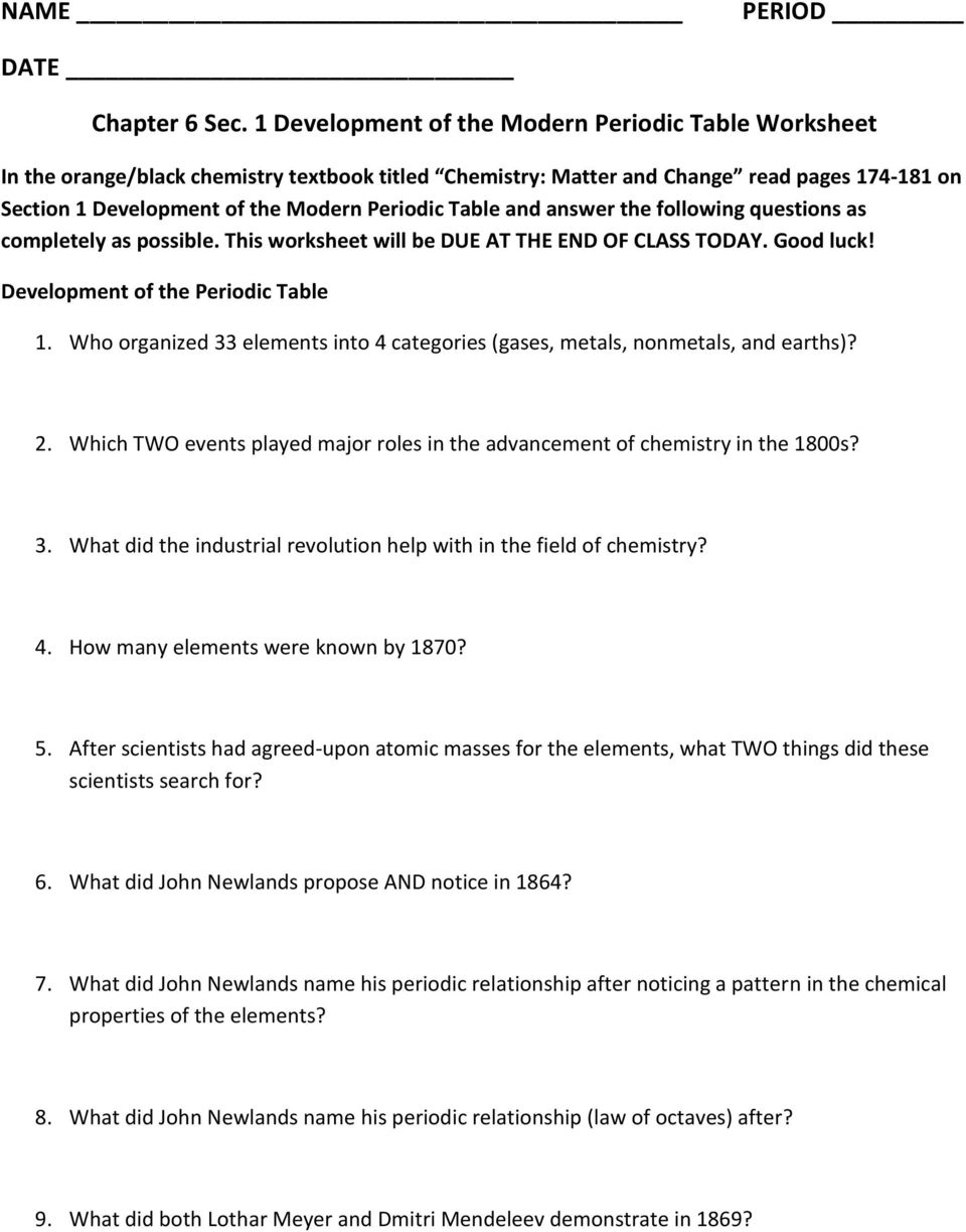 Chapter 6 Sec 1 Development of the Modern Periodic Table – Periodic Table Scavenger Hunt Worksheet