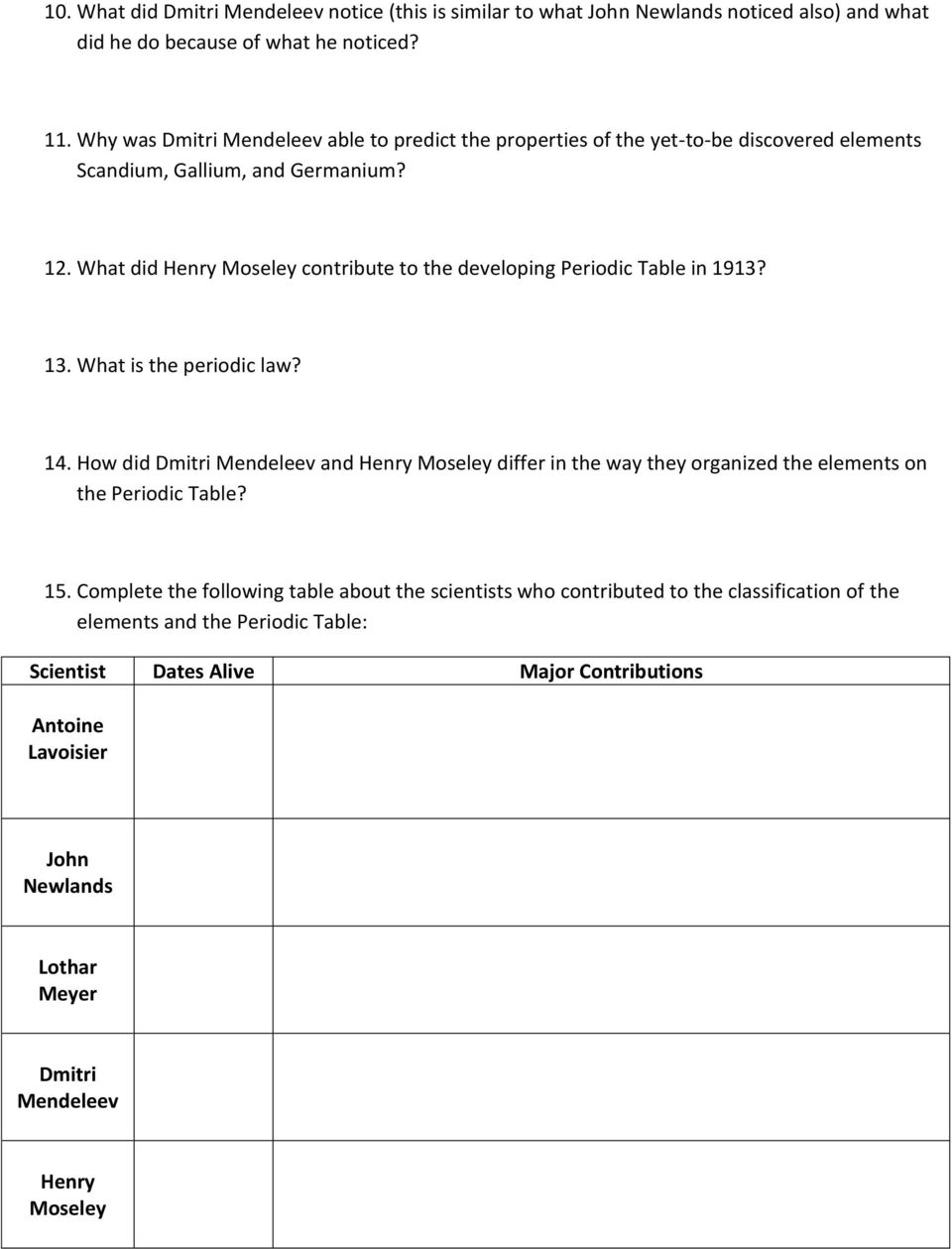 Periodic table of elements worksheet selol ink periodic urtaz Images