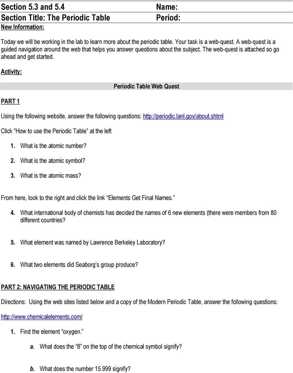 Section 53 and 54 section title the periodic table new activity part 1 periodic table web quest using the following website answer the following urtaz Images