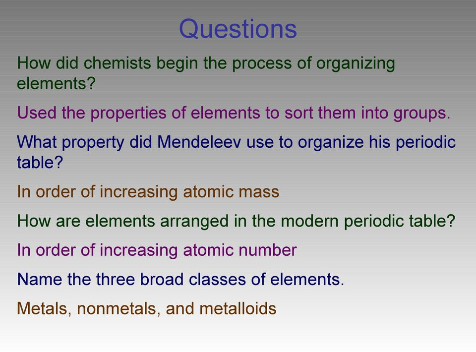 Chapter 6 the periodic table pdf what property did mendeleev use to organize his periodic table urtaz Choice Image