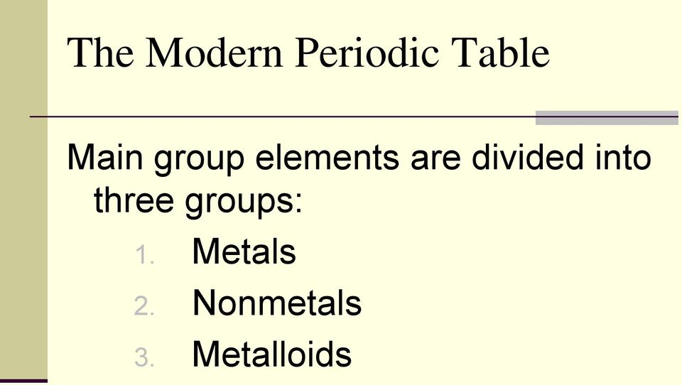 divided into three groups: 1.