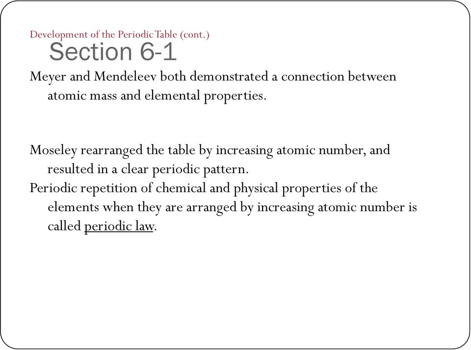 Chapter 6 the periodic table and periodic law section 1 notes pdf atomic number is called periodic law properties urtaz Gallery