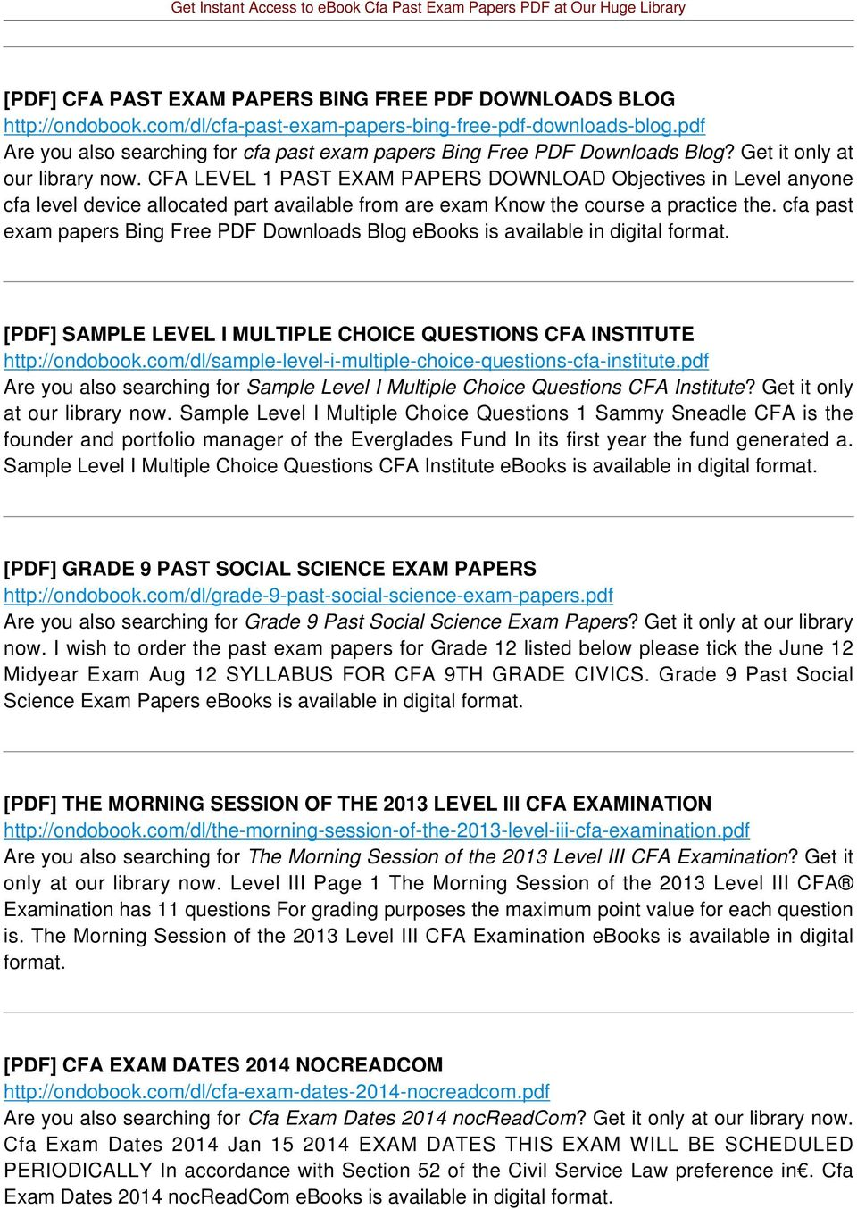CFA LEVEL 1 PAST EXAM PAPERS DOWNLOAD Objectives in Level anyone cfa level device allocated part available from are exam Know the course a practice the.