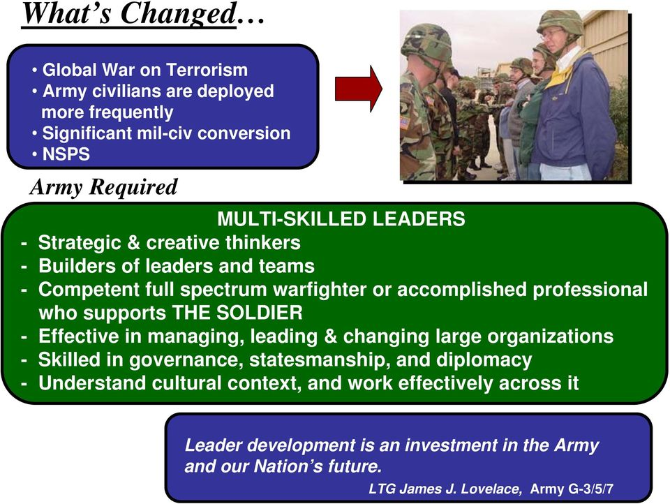 supports THE SOLDIER - Effective in managing, leading & changing large organizations - Skilled in governance, statesmanship, and diplomacy -