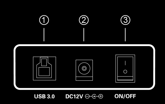 3. Connection and Operating Instructions 3.1 Diagram of Connections USB 3.0 to SATA Hard Drive Docking Station DOCK REAR PANEL VIEW 1. SuperSpeed USB 3.0 Type-B port 2.